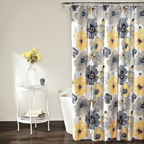 "Lush Decor Leah Shower Curtain - Bathroom Flower Floral Large Blooms Fabric Print Design, 72"" x 72"", Yellow/Gray"