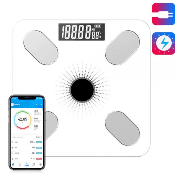 Weight Scale Body Bluetooth Body Fat Scale Smart Meter Body Fat Meter Solar Body Fat meterbody Fat/Body Moisture/Muscle Mass/BMI, Weight Scale with iOS/Android app (White)
