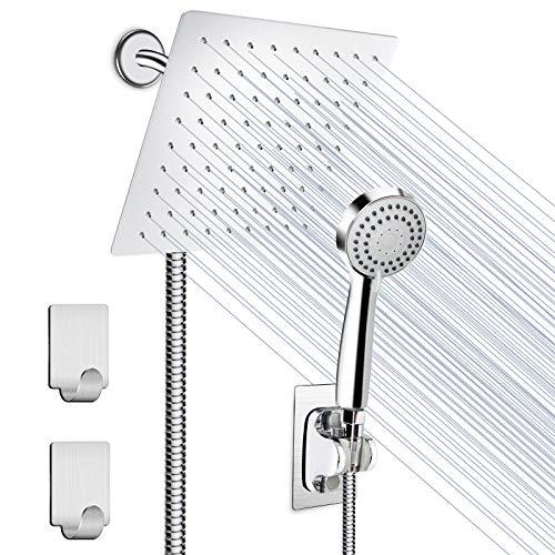 Shower Head, HUOSUC 8 Inch High Pressure Showerhead Stainless Steel Shower Head/Handheld Combo with 60'' Hose Anti-leak Shower Head with Holder, Flow Regulator, 2 Shower Hooks