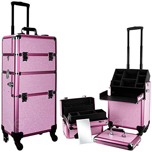 Ver Beauty Professional Rolling Makeup Case, Heavy Duty Hair Stylist & Makeup Artist Travel Case with Easy Slide and Extendable Trays, Pink Krystal