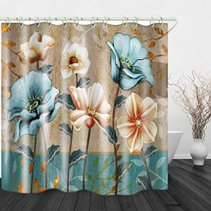 JINYAO Hand Drawn Vintage Flowers Print Waterproof Fabric Shower Curtain for Bathroom Home Decor Covered Bathtub Curtains Liner Includes with Hooks 71 x 79 Inches