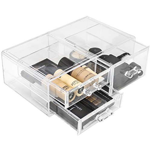 Sorbus Acrylic Cosmetics Makeup and Jewelry Storage Case Display Sets –Interlocking Drawers to Create Your Own Specially Designed Makeup Counter –Stackable and Interchangeable