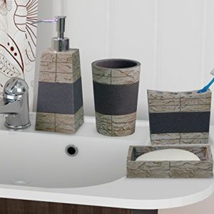 nu steel nusteel Rustic, Made of Cement Bath Accessory Set for Vanity Countertops, 4 Piece Luxury Ensemble Dish, Toothbrush Holder, Tumbler, soap and Lotion Pump, Antique Stone Finish