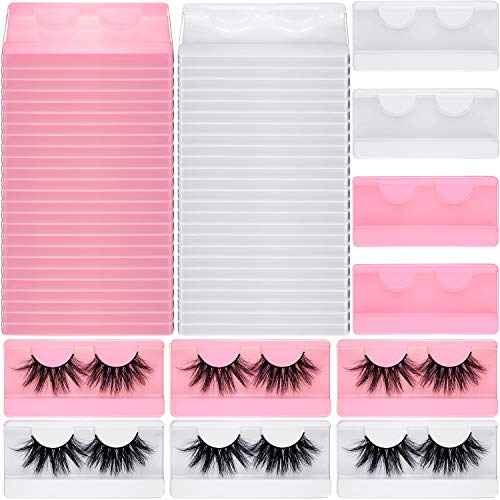 50 Pieces Large Eyelash Box Empty False Eyelash Storage Case Plastic Lash Container Box Holder Makeup Organizer Case for Boutique Beauty Salons (White and Pink)