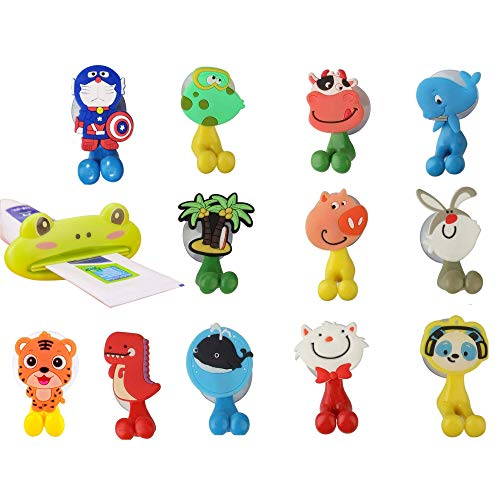 Xiao 12pcs Cute Cartoon Animal Kids Toothbrush Holder with Suction Cup, Fun Toothbrush Holder for Kids,for Mounting on Smooth Wall in Shower, Bathroom, Bedroom, Office
