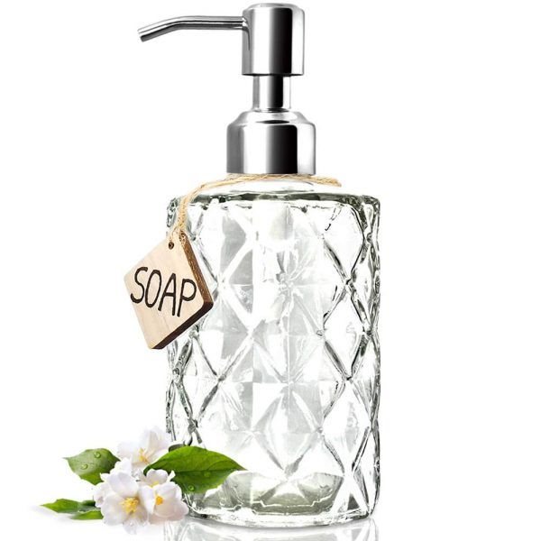 JASAI Diamond Design 12 Oz Glass Soap Dispenser, Kitchen Soap Dispenser with 304 Rust Proof Stainless Steel Pump, Bathroom Soap Dispenser for Hand Soap, Soap, Lotion(Clear)