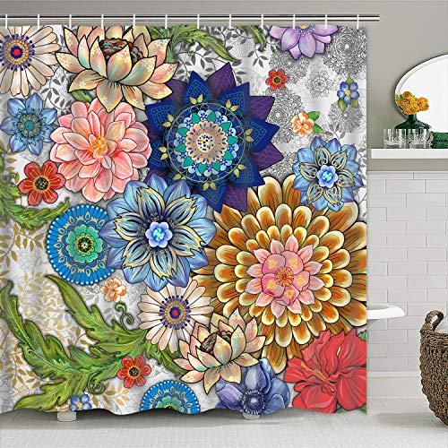 Pknoclan Boho Floral Shower Curtain Colorful Flowers Shower Curtain with 12 Hooks, Boho Shower Curtains for Bathroom, Waterproof Fabric Bath Curtain