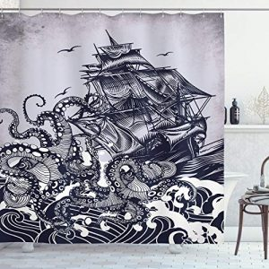 "Ambesonne Nautical Shower Curtain, Kraken Octopus Tentacles with Ship Sail Old Boat in Ocean Waves, Cloth Fabric Bathroom Decor Set with Hooks, 70"" Long, Blue"