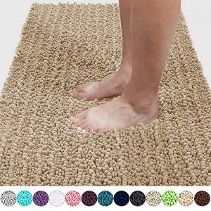 Yimobra Original Luxury Chenille Bath Mat, Soft Shaggy and Comfortable, Large Size, Super Absorbent and Thick, Non-Slip, Machine Washable, Perfect for Bathroom (36.2 x 24 Inch, Beige)