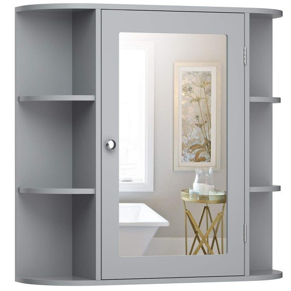Tangkula Medicine Cabinet, Bathroom Mirror Cabinet Wall Mounted, Ideal for Bathroom, Living Room (Gray)