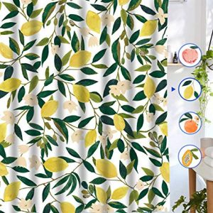 "Lifeel Lemon Shower Curtains, Allover Fruits Shower Curtain Green Leaves Plant Design Waterproof Fabric Bathroom Shower Curtain Set with 12 Hooks, Green Yellow 72""×72"""