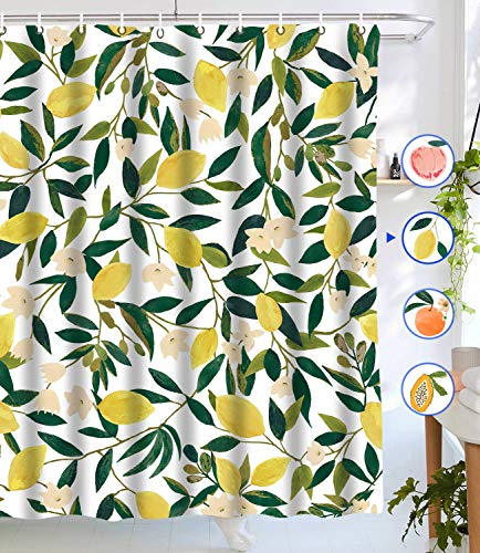 """Lifeel Lemon Shower Curtains, Allover Fruits Shower Curtain Green Leaves Plant Design Waterproof Fabric Bathroom Shower Curtain Set with 12 Hooks, Green Yellow 72""""×72"""""""