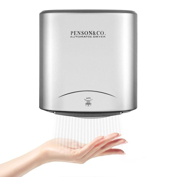 PowerPress AHD-2001-00 Automatic Commercial Hand Dryer for Bathroom High Speed 95m/s, Instant Heat & Dry, Super Quiet, Brushed Silver