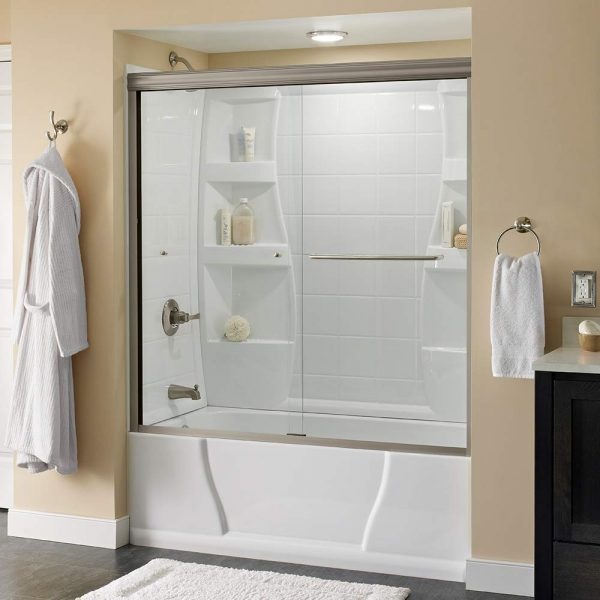 "Delta Shower Doors SD3927410 Classic Semi-Frameless Traditional Sliding Bathtub 60"" x58-1/8, Nickel Track"