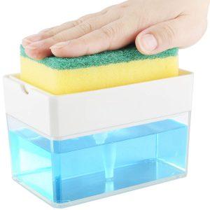 Soap Dispenser for Kitchen + Sponge Holder 2-in-1 - Innovative Design - Premium Quality Dish Soap Dispenser - Counter Top Sink Dispenser - Instant Refill - Durable & Rustproof - Patent Pending