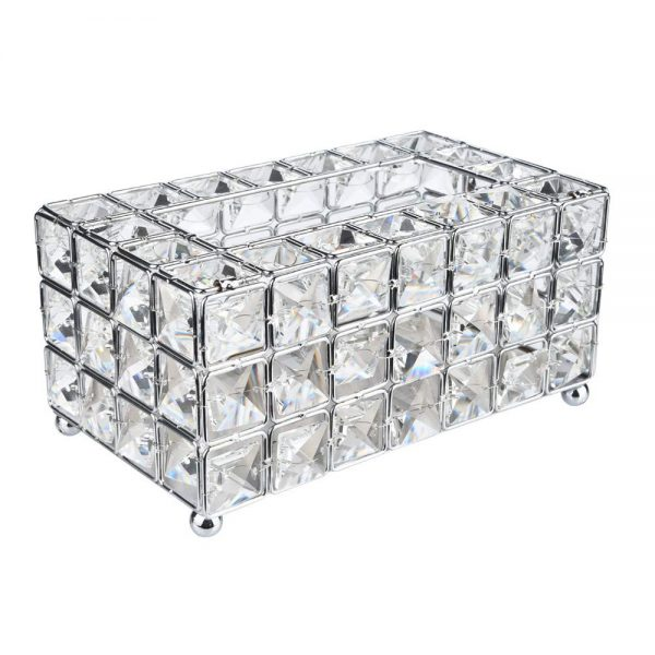 Handmade Square Crystal Tissue Box Tray 200pc Paper Towel Storage (Silver) , Silver Rectangle Cover Luxury Toilet Holder for on Bathroom Vanity/Countertop/Bedroom Dresser/Night Stand/Desk/Table Rectan