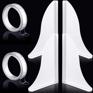 2 Sets Acrylic Bath Tub Splash Guards, Bathtub Shower Splash Guard, Tub Corner Guard, 8.7 x 7.3 Inch, with 2 Pieces 1 Meter Acrylic Adhesive Tape (White)