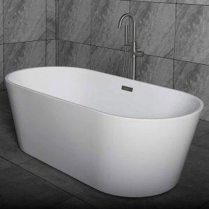 "Woodbridge Acrylic Freestanding Bathtub Contemporary Soaking Tub with Brushed Nickel Overflow and Drain B-0014-B/N-Drain &O, 59"" B0014"