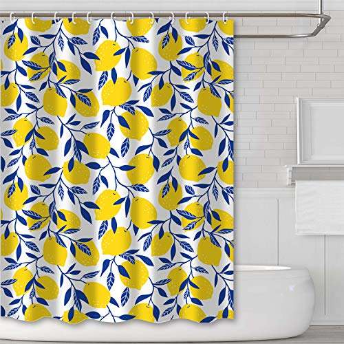 Tititex Yellow Lemon Bathroom Shower Curtain Blue Leafe White Background Waterproof Polyester Fabric Curtain