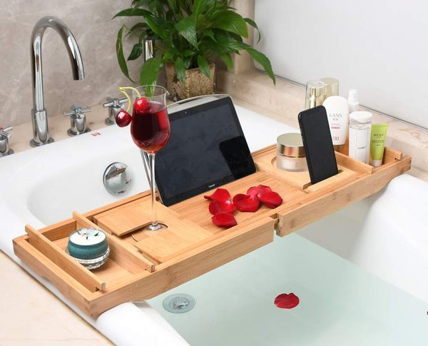 Fancylovesotio Bamboo Bathtub Tray Adjustable Organizer Bathroom Tub Tray with Cellphone and Wine Holder for Luxury Bath or Reading(Universal Shelf)