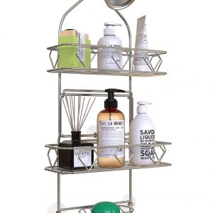 GeekDigg Bathroom Hanging Shower Head Caddy Organizer, Three Tier, Rust Proof Premium Hanger Design With Suction Cups, Hooks, Bath Room Caddies Hang on Showers Head, Shower Organizer, Silver