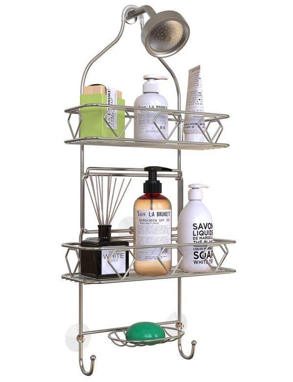 GeekDigg Bathroom Hanging Shower Head Caddy Organizer, Three Tier, Rust Proof Premium Hanger Design With Suction Cups, Hooks, Bath Room Caddies Hang on Showers Head, Shower Organizer, Silver