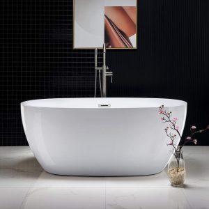 "WOODBRIDGE Acrylic Freestanding Bathtub Contemporary Soaking Tub with Brushed Nickel Overflow and Drain, BTA1518, 59"" B-0018"