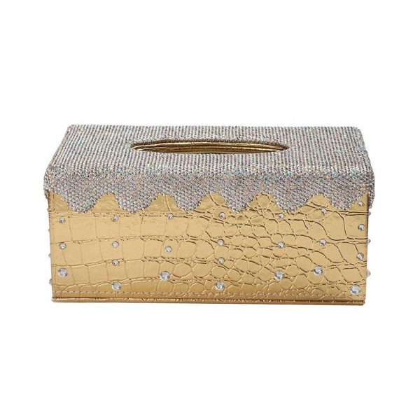ATMOMO Gold with Silver Bling Bling Crystal Tissue Holder Box Luxury Rectangular Facial Tissue Box Holder for Home Car Office (NO Paper Towel)