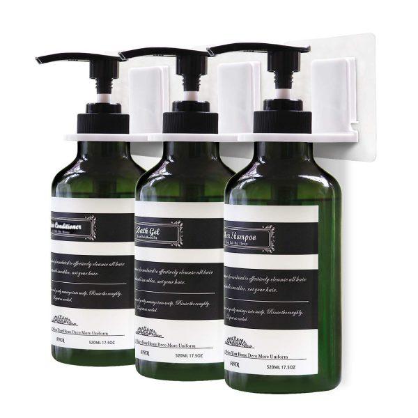 Frylr 3-Chamber Soap Dispenser, Wall Mount Shower Pump, 3 x 17.5 Oz, PET Plastic Bottles, Stick Without Drilling, Water Resistant Sticker, Dark Green