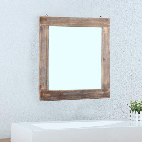 "Womio Rustic Bathroom Mirrors for Wall,23.6"" x 23.6"" Wood Frame Hanging Decorative Wall Mirror Vanity Mirror Makeup Mirror"