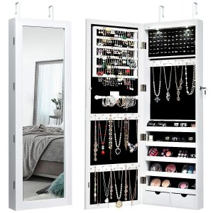Giantex Wall/Door Mounted Jewelry Armoire Organizer with 2 LED Lights, Lockable Height Adjustable Jewelry Cabinet with Full Length Mirror, Large Capacity Dressing Makeup Jewelry Mirror Storage (White)