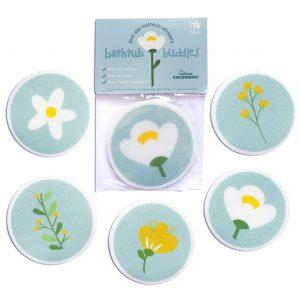 Curious Columbus Non Slip Bathtub Stickers (Flower Design). Pack of 10 Treads. Adhesive Non-Slip, Anti Skid Bath tub Appliques.