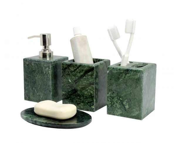 KLEO - Bathroom Accessory Set Made from Natural Stone - Bath Accessories Set of 4 Includes Soap Dispenser, Toothbrush Holder, Tumbler and Soap Dish (Green)