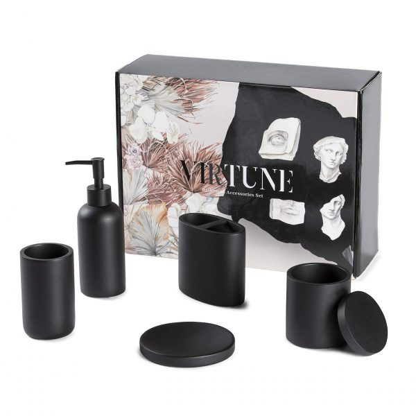 Premium Matte Black Bathroom Accessories Set -Hotel Quality. 100% Resin -Safe and Suitable for Children. Complete Essentials Hand Soap Dispenser, Dish, Toothbrush Holder, Cotton Canister and Tumbler