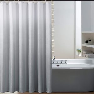Bermino Textured Fabric Bath Shower Curtain - Ombre Shower Curtains for Bathroom with 12 Hooks, 70 x 72 inch, Grey Gradient