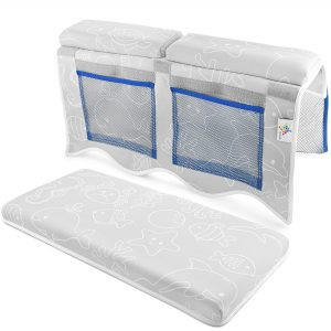 Bath Kneeler and Elbow Rest Support Bundle in Gray with Sea Life, Enjoy Bathtime Kneeling Comfort When Bathing Baby in a Tub, Detachable Mesh Net for Bathtub Toy Storage
