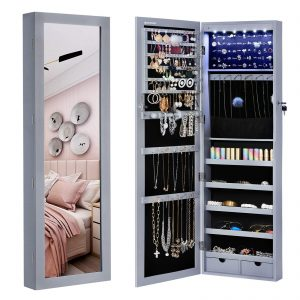 "SONGMICS 6 LEDs Jewelry Cabinet Lockable 47.3"" H Wall/Door Mounted Jewelry Armoire Organizer with Mirror, 2 Drawers, Gray UJJC93GY"