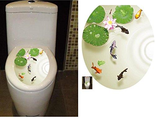 "BIBITIME Bathroom Toilet Seat Cover Decals Sticker Vinyl Toilet Lid Decal Decor (12.99"" x 15.35"", Lotus Flower Carps Fish)"