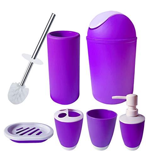Bathroom Accessories Set, Luxury Bath Sets Lotion Dispenser,Toothbrush Holder, Bathroom Tumblers, Soap Dish, Trash Can, Toilet Brush Set-Purple (Purple)