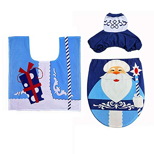 Danse Jupe Snowman 3Pcs Lint Toilet Tank Cover&Toilet Seat Cover&Rug Set Bathroom Christmas Decor
