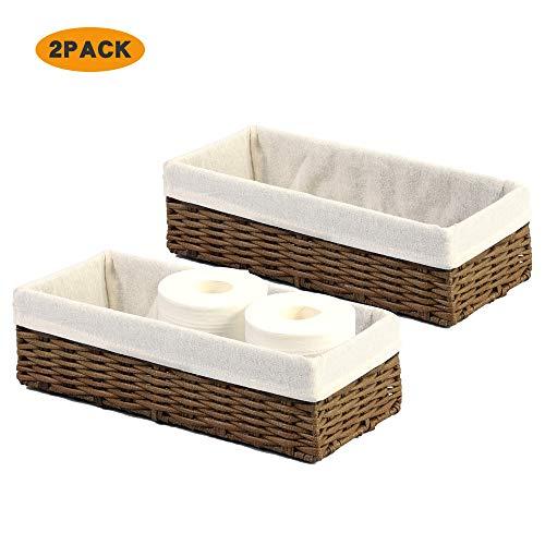HOSROOME Bathroom Storage Organizer Basket Bin Toilet Paper Basket Storage Basket for Toilet Tank Top Decorative Basketfor Closet, Bedroom, Bathroom, Entryway, Office(Brown