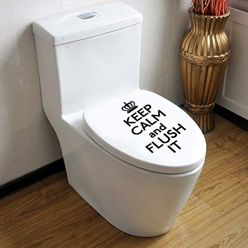 """Keep Kalm and Flush It Quote Toilet Bowl Decal,Minimalist Funny Washroom Rule Lettering Sticker for Toilet Lid Bathroom Seat Decoration,Black-12.6""""x15.3""""-1Pcs"""