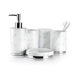 Willow&Ivory Bathroom Accessories Set | 5 Piece, Ceramic Bath Set | Toothbrush Holder, Soap Dispenser, Soap Dish, 2 Tumblers | Marble Collection
