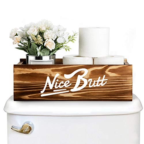 ZCONIEY Nice Butt Box Bathroom Humor Decor, Toilet Paper Holder, Rustic Wooden Storage Organizer Toilet Lid Tank Cover