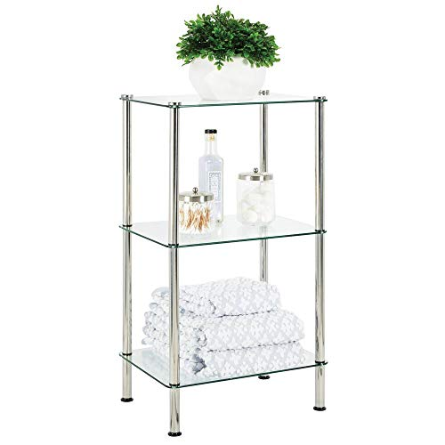 mDesign Bathroom Floor Storage Rectangular Tower, 3 Tier Open Glass Shelves - Compact Shelving Display Unit - Multi-Use Home Organizer for Bath, Office, Bedroom, Living Room - Clear/Chrome Metal
