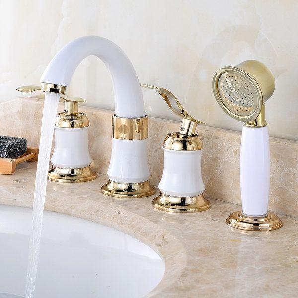 Ceramic Bathroom Faucet Cold Hot Mixer Tap Ceramic Core 4pcs