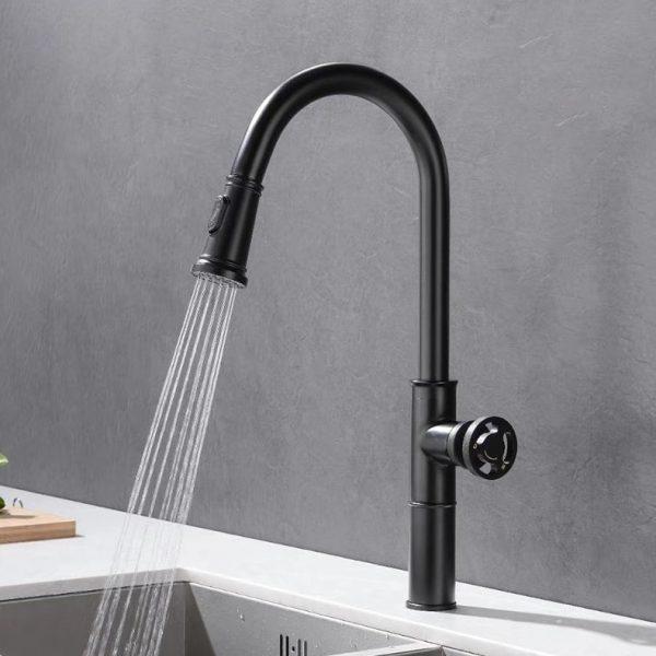 Faucets Retro Industrial Style Matte Black Brass Crane Bathroom