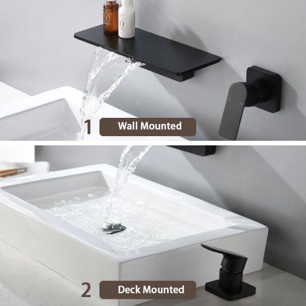 Waterfall Faucet Matte Black Wall Mounted Bathroom