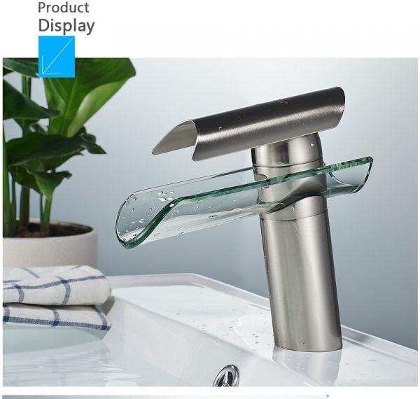Single Handle Waterfall Lavatory Bathroom Faucet Glass Spout