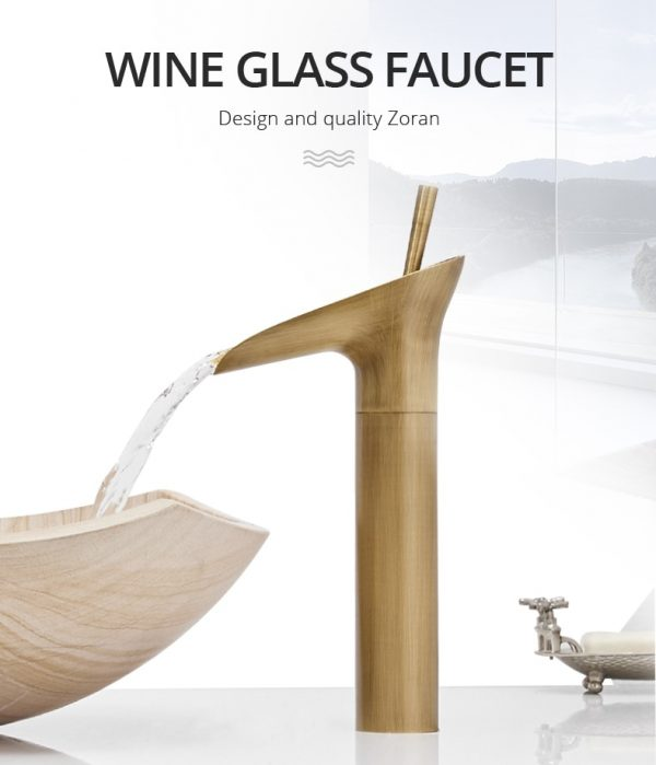 Gold Waterfall Water Basin Faucets Brass Bathroom